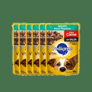 Pague-5-lleve-6-Alimento-Pedigree-Pouche-Adulto-Razas-Pequeñas-Carne-100-Gr-para-perro
