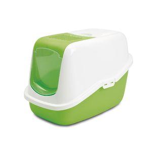 Nestor-Arenero-Con-Tapa-Y-Filtro-56X39X38.5Cm-Color-Blanco-Con-Verde-Limon-Para-Gato