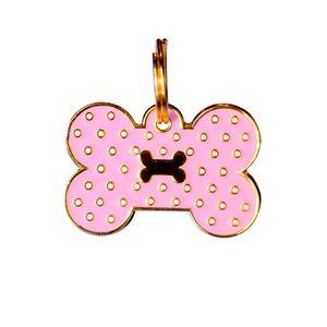 Medalla-Rosada-Hueso-Puntos-Ref-8-Para-Perro---Pequeña
