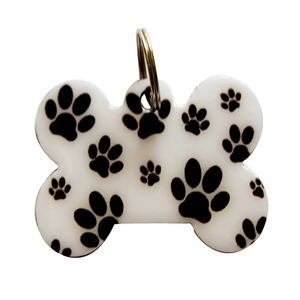 Medalla-Hueso-Blanco-Huellas-Ref-03-Para-Perro
