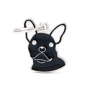 Medalla-Bulldog-Frances-Negro-Para-Perro-Nueva-Imagen